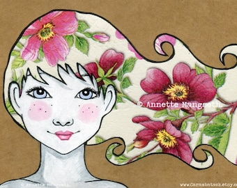 Vilde - Mixed media art  print - European A4 size -Girl with pink flowers in her hair