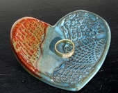 Ceramic Heart Bowl Ring Holder Catch All - Turquoise Blue/Orange