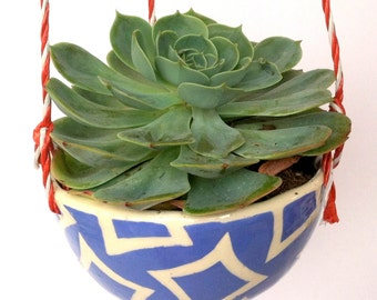 Hanging planter---blue diamond pattern