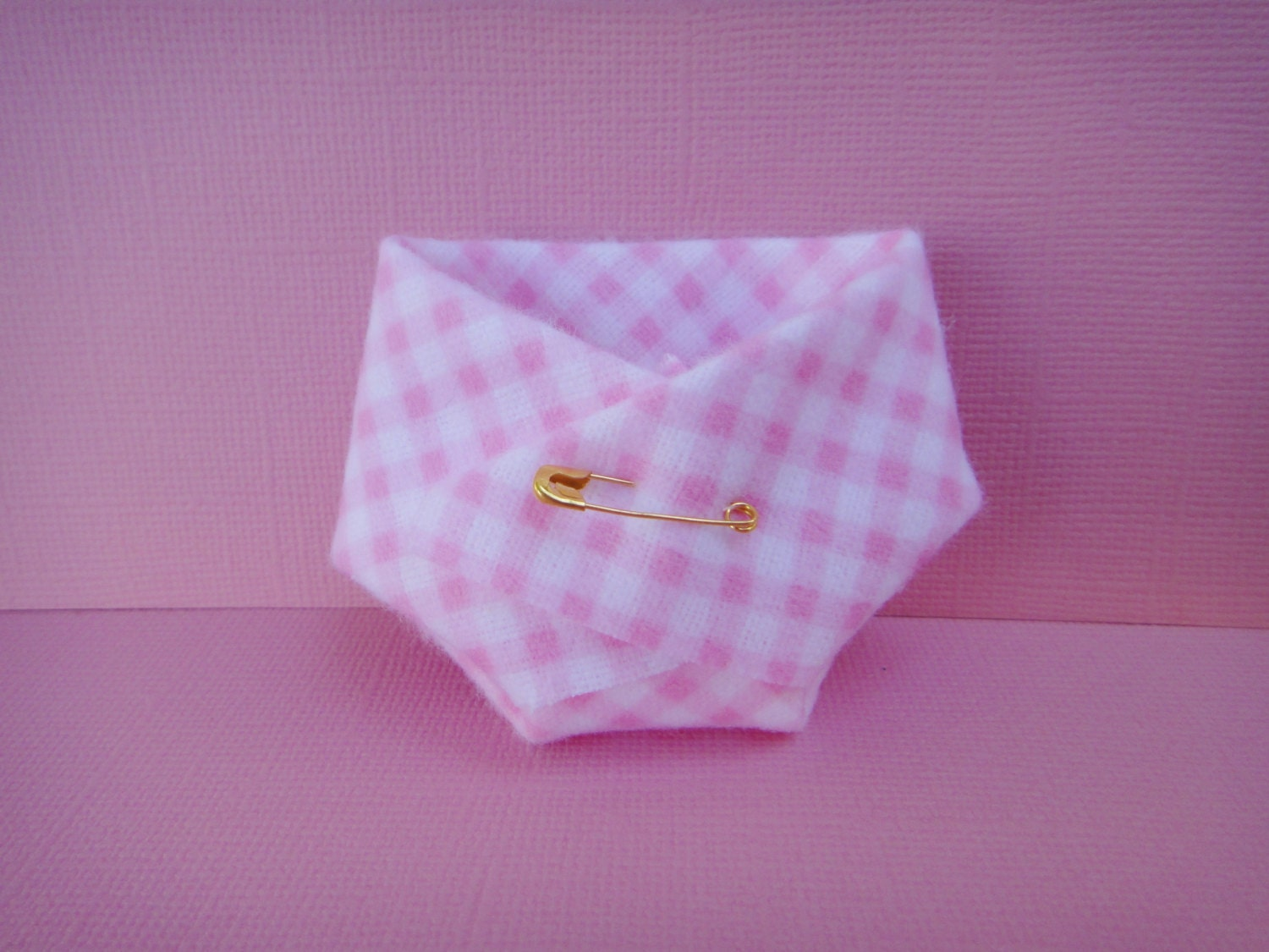 20 Pink Gingham Mini Diapers For Baby Shower Favors OR Dirty