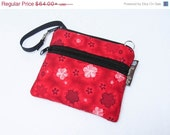 ON SALE Cell Phone Bag - Samsung Galaxy Bag - Cell Phone, Crossbody Purse - Cell Phone Wristlet PLUS extra Zipper Pocket -- Red Floral Fabri