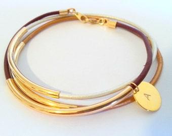 Initial Bracelet - Pesonalized Jewelry - Leather Bangle - Boho Bracelet - Boho Leather Bracelet - Boho Stackable Bracelets - Wrap bracelets