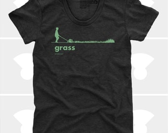 Grass Women's TShirt, Women's Top, Spring, Grass, Funny, Lawn, Outdoors, Black, Nature, Summer Shirt, Tee (4 Colors) TShirt for Women