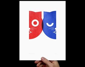 Dueling Watson the Cat, Art Print, Letterpress, Kids Room Art, Print, Poster, Cat Art, Nursery Art, Crazy Cat Lady, Pop Art, Blue, Red