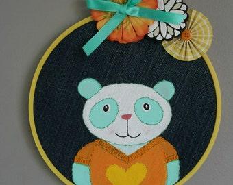 NURSERY ART Panda painting on recycled denim hoop art BABY shower gift childrens room decor wall hanging