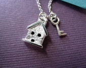 Sterling Silver Necklace Tiny House and Key Charms