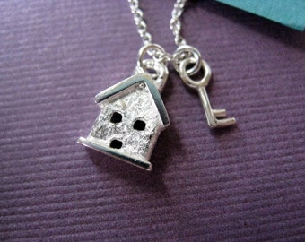 Sterling Silver Charm Necklace Tiny House and Key