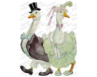 Digital Download Vintage Animal Illustration Goose Couple For A Walk JPG PDF or PNG 600dpi