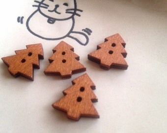20x christmas tree flat back wooden button 18x17mm -code 88100 Copy Copy