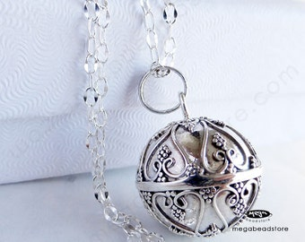 "Hearts Bola Necklace Chime Pendant 16mm Harmony Ball 925 Sterling Silver w/ 36"" P78CH67"