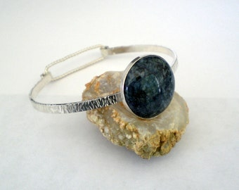 Blue sodalite cabochon bangle bracelet, blue stone bracelet, sodalite and sterling silver bracelet