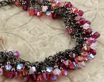 In The Pink multicolor gunmetal finish Swarovski Crystal cascade fringe bracelet with a WHOPPING 108 crystals