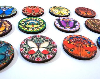 Psychedelic Wood Butterfly Rounds
