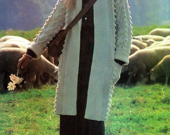 Aran Coat Traditional Vintage Knitting Pattern pdf Instant Download
