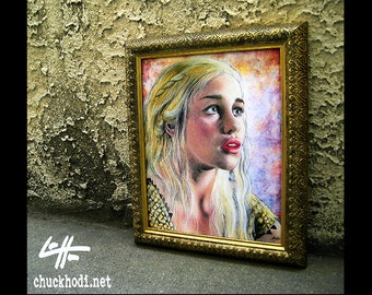 Daenerys Targaryen - Original Drawing - Game Of Thrones White Walker Emilia Clark Stark Pop Art Dak Art Horror Castle Fantasy Jon Snow