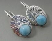 Larimar Fine Silver Sterling Silver Earrings