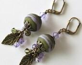Lampwork Earrings, Olive Green and Lavender,Violet, Antique Brass, Leaves, Crystal Earrings, Drop Earrings, Beaded Jewelry, Beaded Earrings