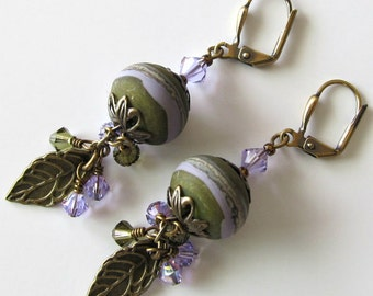 Lampwork Earrings, Olive Green and Lavender, Violet, Antique Brass, Leaves, Crystal Earrings, Drop Earrings, Beaded Jewelry, Beaded Earrings