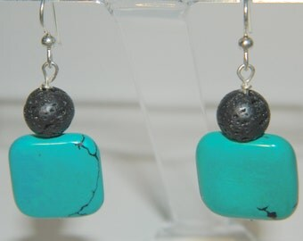 Turquoise and lava earrings - blue and black dangle