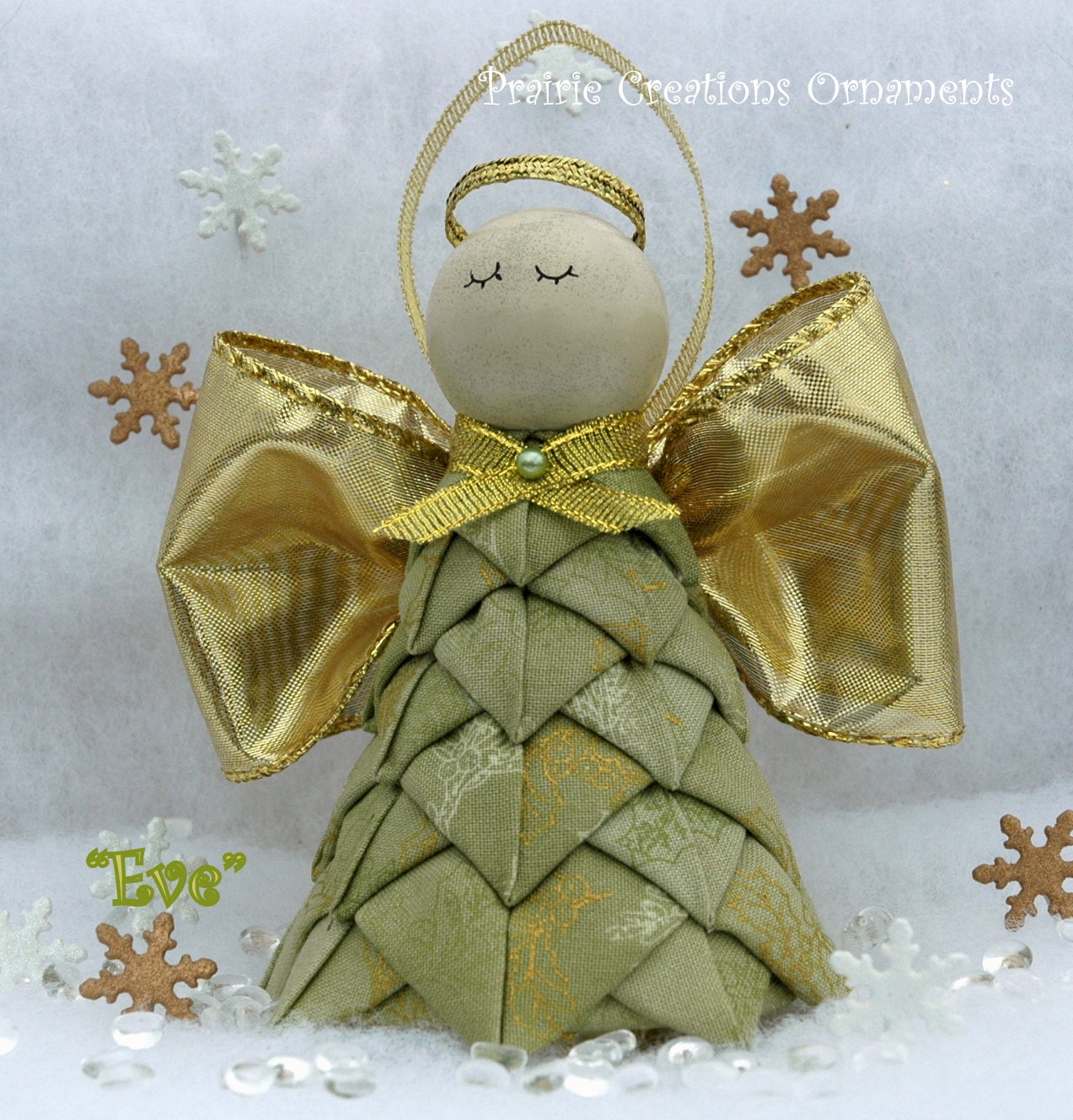 Christmas Angel Folded Fabric Ornament Kit & Instructions