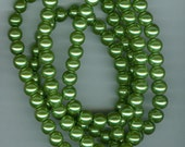 8mm Olive Green Glass Pearl Round Beads