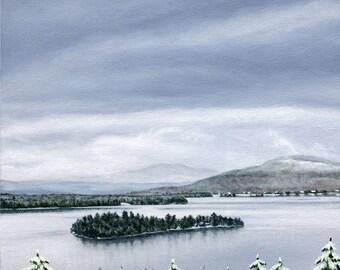 Art Print - Rangeley Lake in December  #2,  12 x 12 size