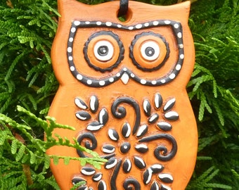 Halloween Owl Ornament or Decoration.  Black, Orange and White Hand Painted Plaster Owl.