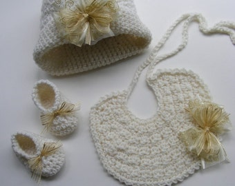Downton Abbey Inspired Crochet Hat Pattern w/ Bow - Crochet Booties Shoe - Baby Bib Pattern - Photo Tute No. 72