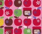 DESTASH - One Yard - Yuwa - Apples, Blossom and Jam on Pink - Confiture de Pomme - Japanese Imported