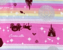 HALF YARD - Cinderella on Pink with Glitter/ - Princess, Glass Slipper, Pumpkin Carriage, Castle, Tiara, Crown, Mouse, Butterfly