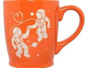 Astronaut Love Mug - Tangerine Orange - large ceramic space coffee cup