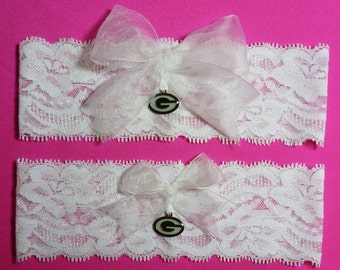 Green Bay Packers Wedding Garter Set  White Lace Handmade Wedding Garter Set with charms  Keepsake and Toss