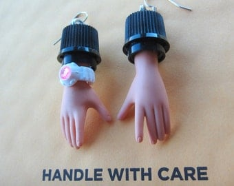 MAN HANDS - upcycled doll hand earrings with watch