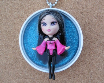 SALE ITEM _ Little Raven Haired Beauty -  Upcycled Doll Pendant