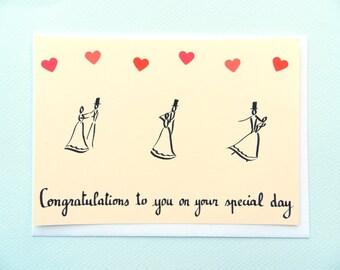 Ouvrir le bal / Dancing couple - wedding card by Pauline Rousseau
