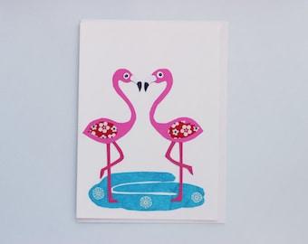 Flamingo Love - print card by Emily Lin