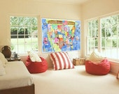 USA Map for kids 40 x 55 inch Extra Huge BLUE watercolor art playroom poster for Christmas by mungaro