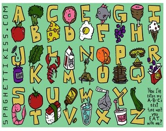 The ABC's of Food - Kid's placemat - digital download