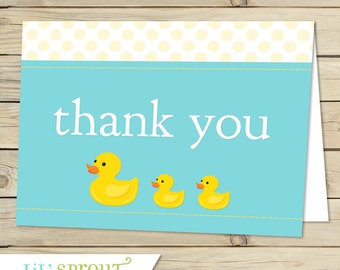 Reserved for K.R.- Rubber Duck Baby Shower Printable Thank You Note - Instant Download