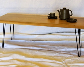 Contemporary Poplar Wood Slab Coffee Table, Hairpin legs, mid-century modern, Hamari