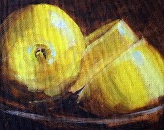 Lemon, Citrus Still Life Oil Painting, Original Small 4x5 Canvas Kitchen Wall Decor, Yellow, Brown, Miniature, Traditional Food Art