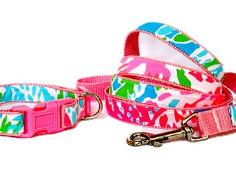 Dog Collar and Leash Set Made from Lilly Pulitzer NEON Lets Cha Cha Fabric on Light Pink Size: Your Choice