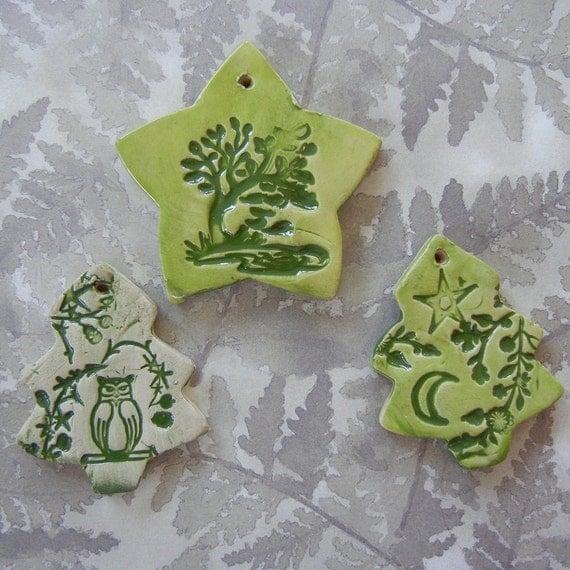 Pagan Yule Ornaments Christmas trees and Star