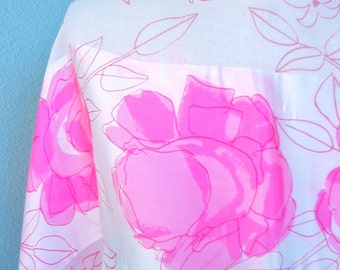 Sheer Pink Roses - a Sumi-e painted, vintage 1960's Vera Neumann sheer silk scarf