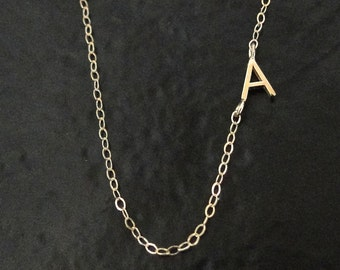 Tiny Sideways Initial Necklace - Single or Multiple Initials 14K SOLID GOLD, Asymmetrical Letter Necklace As Seen on Audrina Patridge
