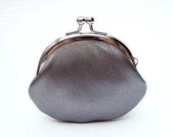 Silver Leather Clasp Change Purse Coin Purse Lambskin