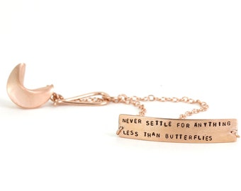 never settle for anything less than butterflies - fortune cookie bracelet
