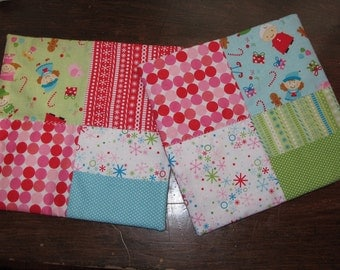 MOVING SALE! Square Christmas Mug Rugs with Pockets set of 2 with Riley Blake Fabric