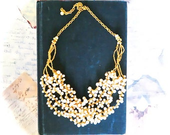 Pearl Wedding Necklace, Bridal Necklace Gold, Wedding Jewelry Pearl Necklace, 1920s Gold and Pearl Necklace, Statement Necklace Great Gatsby