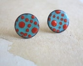 Red and Aqua Enamel Stud Earrings